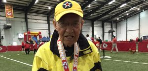 95 year old Chiefs fan ran a 5k to help support the Children's Place in Kansas City