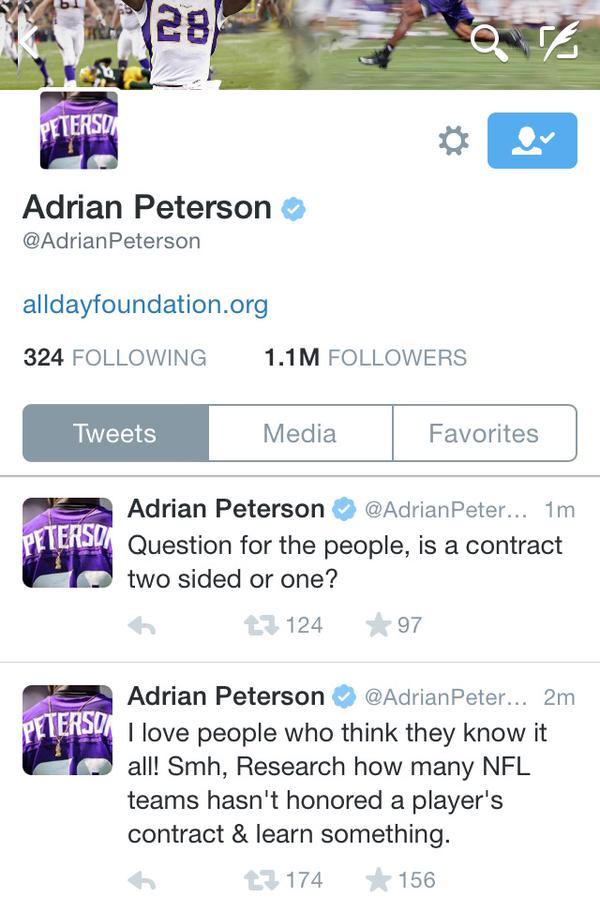 Adrian Peterson was talking about his contract situation with the team