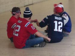 Patriots fans hancuffed themselves to each other protesting the NFL's decision in New York.