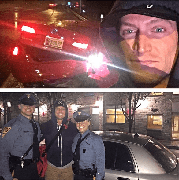 Steve Weatherford was able to survive a car crash and get a ride home with these lovely Policemen.