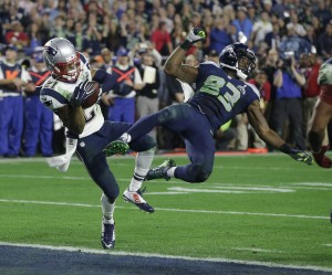 Ricardo Lockette of the Seahawks cannot watch the final play of the Super Bowl