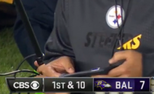 Was Steelers QB Ben Roethlisberger using a cell phone? You be the judge....