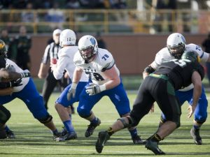 Grand Valley State University offensive guard Jim Walsh is a big boy that dominates his competition
