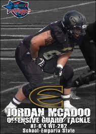 Emporia State has a solid right tackle in Jordan McAdoo. I like this kids game