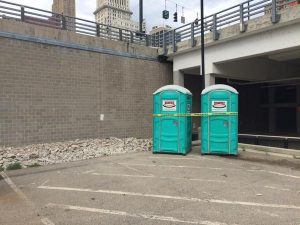 A dead body was found in a porta potty outside of Paul Brown Stadium