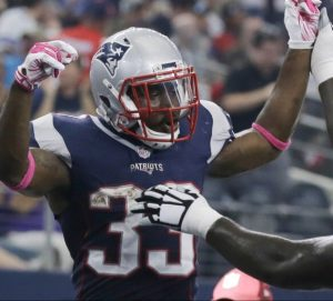 Patriots running back Dion Lewis is lost for the season