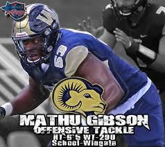 Wingate offensive lineman Mathu Gibson is an aggressive run blocker