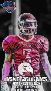 Lock Haven defensive back Mike Williams is a very solid small school player that can do everything NFL scouts are looking for