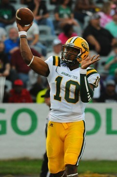 Arsenio Favor has a strong arm and the Arkansas Tech quarterback has played at the D1 level