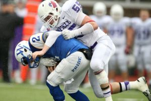 Linfield defensive end Alex Hoff is a very solid edge rusher.