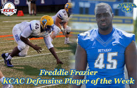 Freddie Frazier of Bethany College is a very sound pass rusher