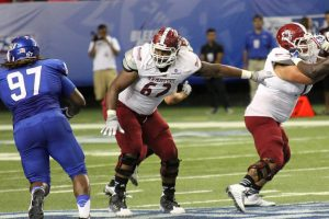 Isaiah Folasa-Lutui of New Mexico State University is a big boy with a mean streak