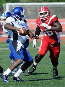 Delaware State University defensive end Jihad Abdur-Rahman is relentless